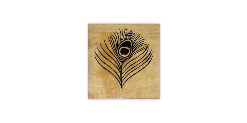 bridal shower Peacock Eye Feather lg Mounted rubber stamp fantasy wedding #20