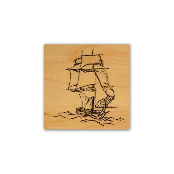 Vintage sail Ship Rubber Stamp P41