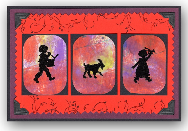 mounted music rubber stamp DRUMMER BOY Silhouette small marching band Christmas No.1