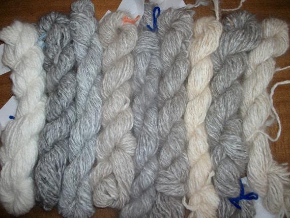 2ply 142 yds Handspun silvergrey alpaca yarn with a touch of hand dyed sky blue angora