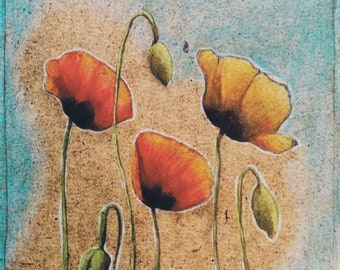 Red & Orange Poppies - Print of original drawing by Ashley White Jacobsen