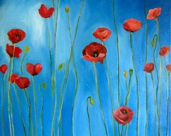 Blue Sky Poppies- Print of original oil painting