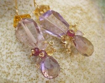 Ametrine Garnet Citrine Wired Cluster Earrings, Pink Yellow Purple Red Earrings, Purple Yellow Ametrine Garnet Citrine Cluster Jewelry