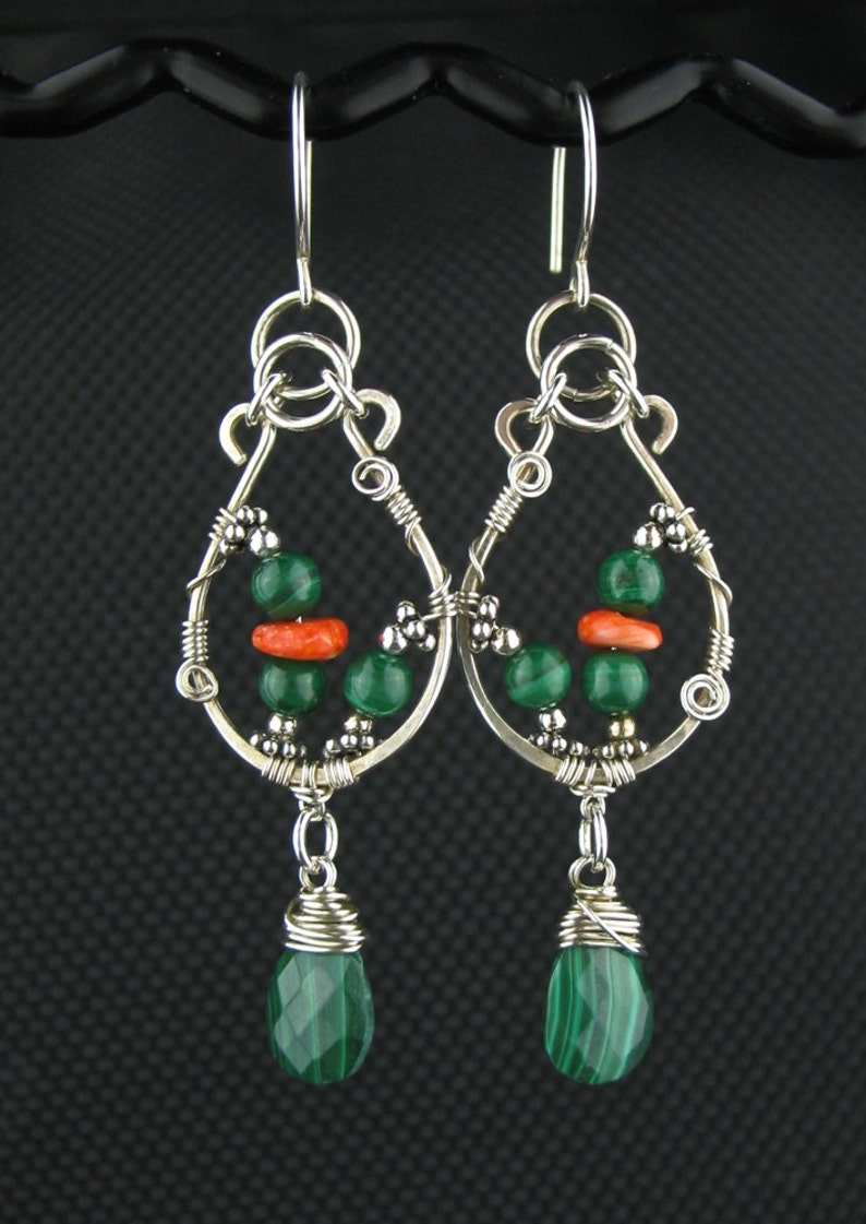 Sensational Malachite Spiny Oyster Long Earrings Wire Wrap Earrings Etsy Wiring Cloud Hisonuggs Outletorg