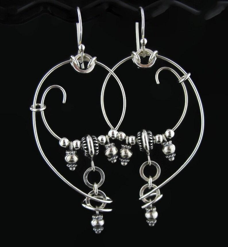 Big Bold Artisan Hoop and Loop Long Dangle Silver Wire Earrings