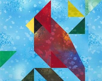 FRIENDLY FOWL paper pieced quilt block pattern download