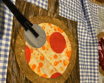 Papa's Pizza Party Quilt PATTERN designed by Jay Grendell, instructions for machine and hand appliqué, machine piecing