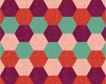 Bumble and Buzz Hexagon Quilt PATTERN includes FIVE SIZES and Three color variations