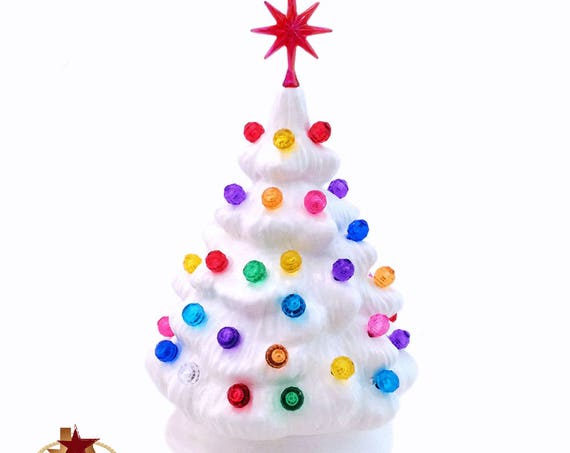 Miniature White Ceramic Christmas Tree with Color Globe Lights and Snowflake Style Star, Little Tabletop Electric Tree 6 Inch Tall