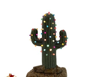 small cactus ceramic christmas tree with color lights electric base 8 inch tall southwest rustic desert decor