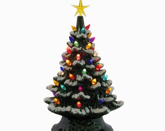 ceramic christmas tree 11 12 inch tall tabletop tree with snow tipped branches color lights and star electric lighted tree made to order