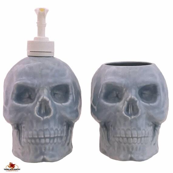 Ceramic Skull Soap Dispenser and Toothbrush Holder Set in Light Blue for Bath Vanity or Kitchen Decor, Skull Collector Gift Set