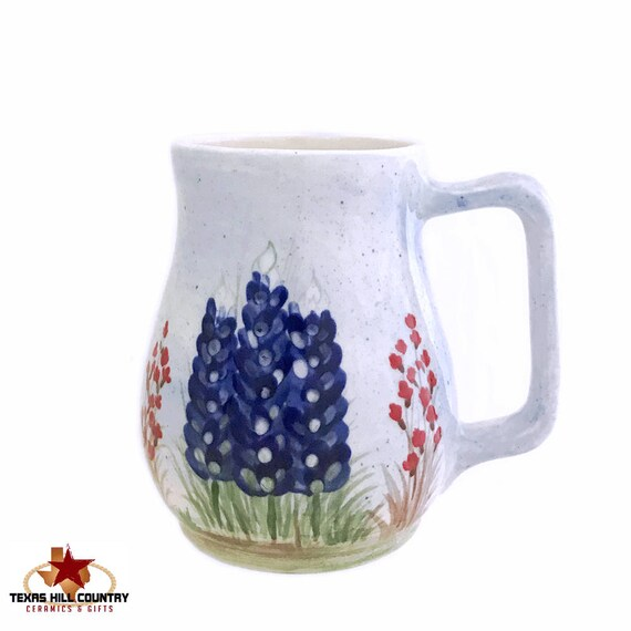 Ceramic Coffee or Tea Mug with Hand Painted Texas Bluebonnet Wildflowers, Handmade in Texas Hill Country - Made to Order
