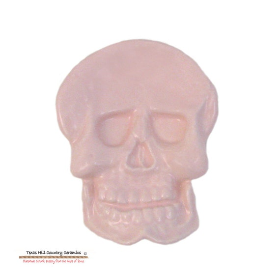 Pastel Pink Skull Ceramic Tea Bag Holder Small Spoon Rest, Desk Organizer Accessory, Ring Dish or Small Soap Dish for Bath Vanity