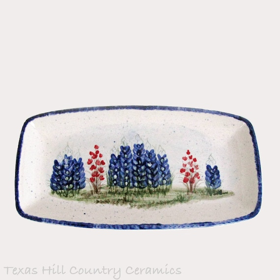 Ceramic Bread or Cracker Tray Serving Dish with Hand Painted Texas Bluebonnet Wildflowers Made in Central Texas Hill Country - Ready to Ship