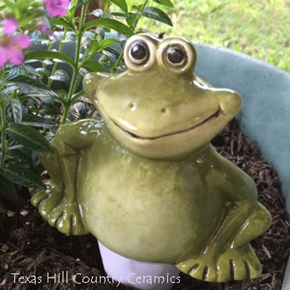 Large Friendly Garden Frog Plant Tender or Water System in Botanical Green