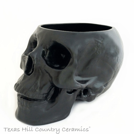 Ceramic Skull Holder or Large Container for Make-up Brushes, Skull Planter, Kitchen Counter Catch All, Bath Vanity Organizer, Pick Color