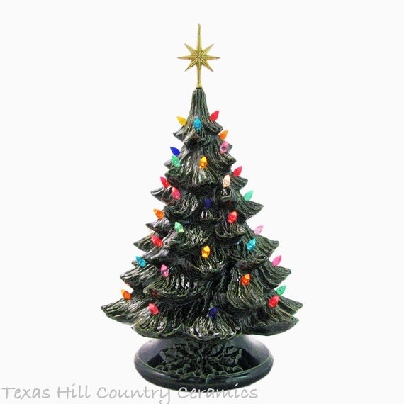 Grandma's Favorite Ceramic Christmas Tree and Green Holly Base 18 Inches Tall Topped With Large 7 Point Metallic Gold Star - Made to Order