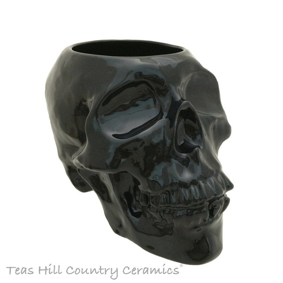 Large Ceramic Skull Kitchen Utensil Holder or Container Planter for Live or Silk Flowers Kitchen Organizer Your Choice of Color
