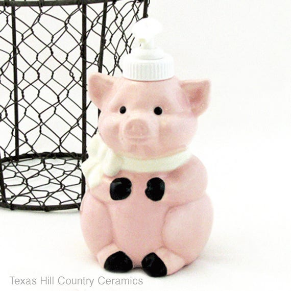 Pink Ceramic Pig Soap Pump Dispenser for Country Kitchens or Bath Vanity Decor for Liquid Soap or Lotion Made in the USA