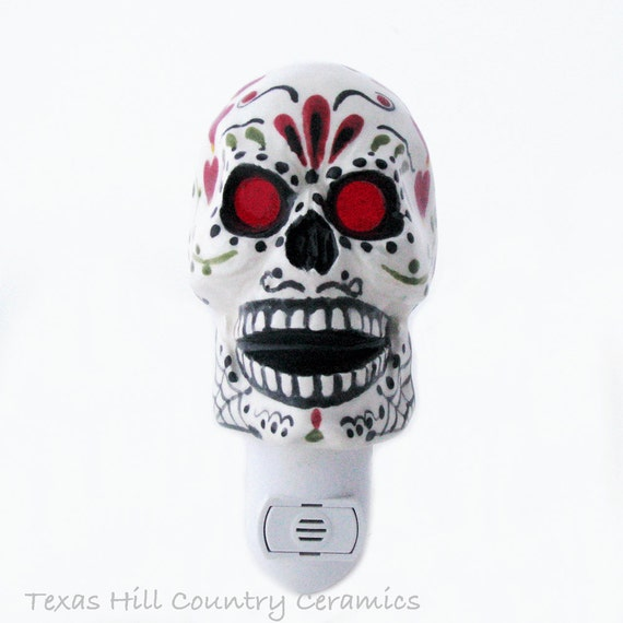 Sugar Skull Night Light with Day of the Dead Mexican Folk Art Dia de los Muertos Design Handprinted White Automatic Sensor Switch