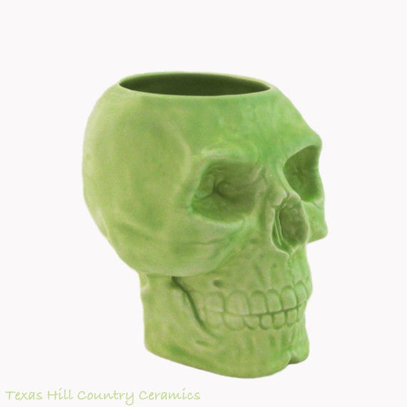 Lime Green Ceramic Skull Toothbrush Holder, Pencil Pen or Tool Caddy Desk Accessory or Flower Planter Kitchen Spoon Container Shop of Skulls