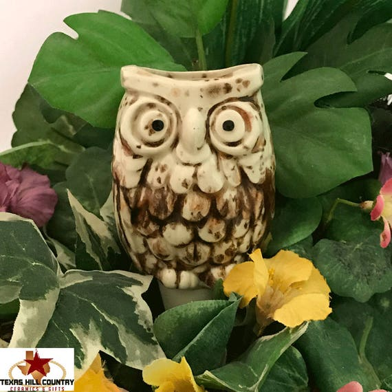 Ceramic Owl Plant Tender or Watering Spike for Container Gardens or Potted Plants Indoors or Outdoor