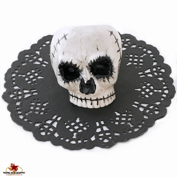 Ceramic Skull Napkin Ring Frightful Creepy Table Place Setting Accessory Halloween Decor in Black and White