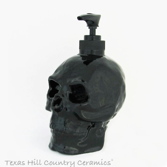 Skull Soap Dispenser Halloween Horror Pirate Haunted House Friday 13th  Decor Bath Vanity Kitchen Decoration in Black Gloss or Matte Finish