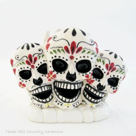 Ceramic Sugar Skulls with White Skeleton Hand Letter Holder Ceramic Napkin Holder Day of The Dead Mexican Folk Art Dia de los Muertos