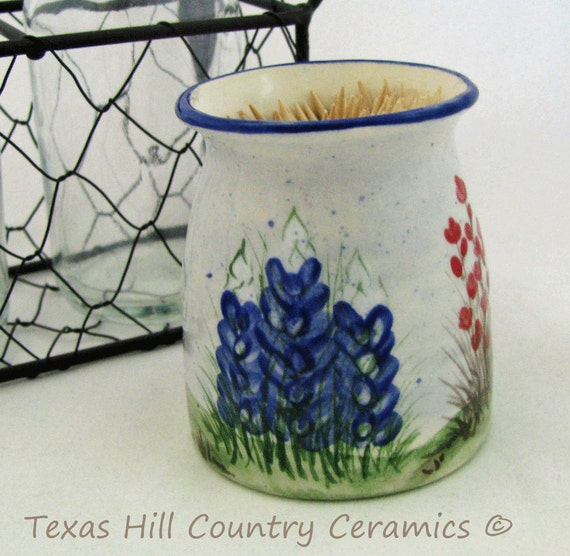 Small Thrown Pottery Style Ceramic Toothpick Holder with Texas Bluebonnets Indian Paintbrush Wildflowers Transplant Texan Gift Made in Texas