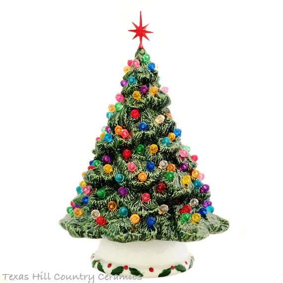 Ceramic Christmas Tree Green Shenandoah Pine Tree Small Tabletop Tree 10 Inches Tall. Lots of Round Jewel Color Lights with Snowflake Star