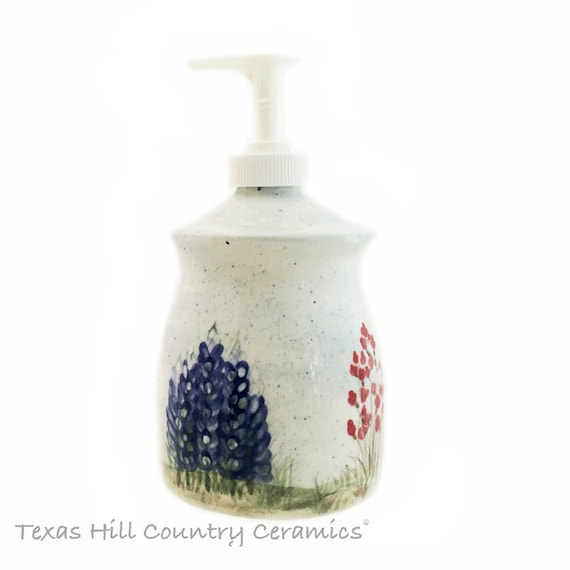 Ceramic Thrown Pottery Style Soap Dispenser Texas Bluebonnet Wildflowers Hand Painted Original Design Made in Texas - Made to Order