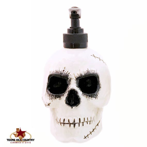Scary Zombie Skull Soap Dispenser for Bath Vanity or Kitchen Decor, Creepy Halloween Horror Decor