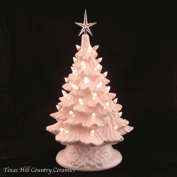 Pink Ceramic Christmas Tree 11 1/2 Inch Tall Clear Lights and Star Electric Lighted Made to Order