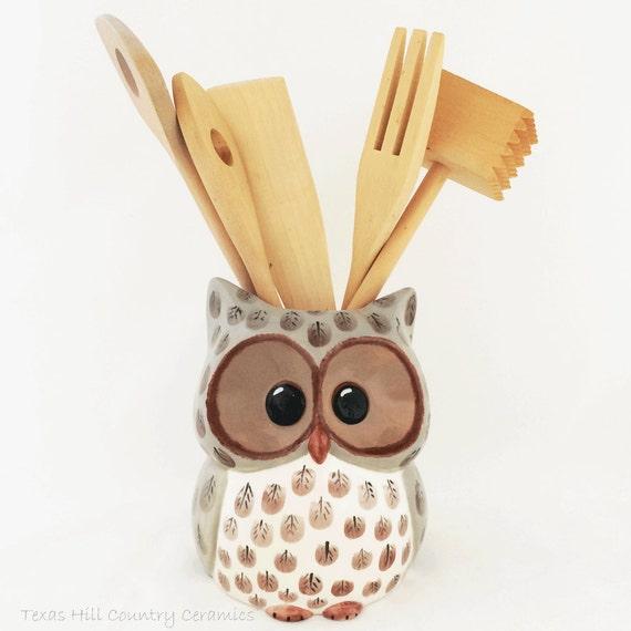 Large Ceramic Owl Kitchen Utensil Cooking Tool Organizer or Planter Kitchen Decor