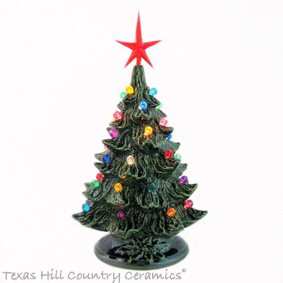 Nostalgic Style Ceramic Christmas Tree 8 1/2 Inch Tall Small Round Lights Modern Style Star Green Holly Base Electric Lighted