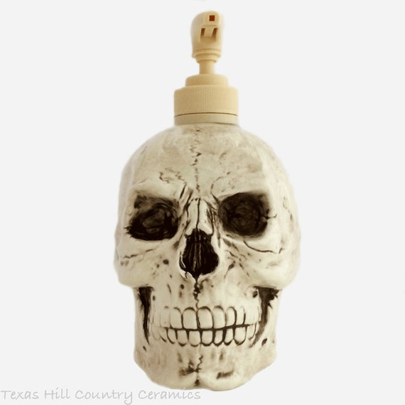 Creepy Aged Ceramic Skull Soap Dispenser Horror Halloween Decoration for Bath Vanity or Kitchen Counter, Haunted Look Decor Home or Office