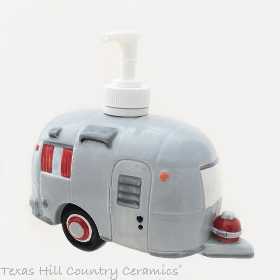 Ceramic Travel Trailer Soap Dispenser RV Camping Decor Road Trip Silver Grey Red Trim Hand Made in the USA - Made to Order