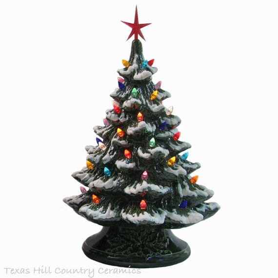 Large Christmas Ceramic Christmas Tree 18 Inches Tall Snow Tip Branches Color Lights & Star, Green Electric Lighted Base Made in The USA