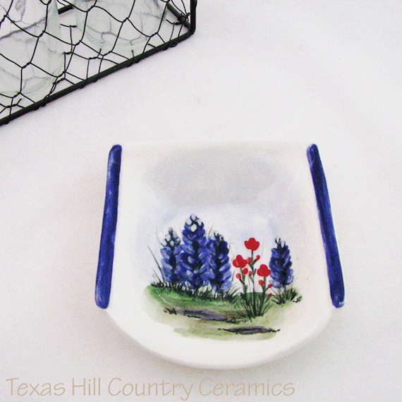Square Ceramic Spoon Rest with Texas Bluebonnet Wildflowers Hand Painted Original Design Made in the Hill Country of Texas - Made to Order