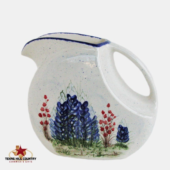Flat Sided Ceramic Pitcher 48 oz with Texas Bluebonnet Wildflowers Hand Painted Original Design Made to Order in Central Texas Hill Country
