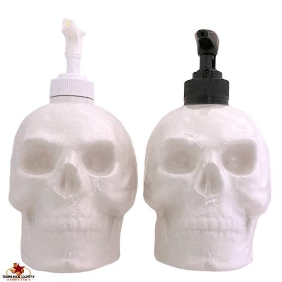 White Ceramic Skull Soap Dispenser Halloween Horror Decor on Bath Vanity Kitchen Counter Phrenologist Office - Pick Black or White Pump Unit