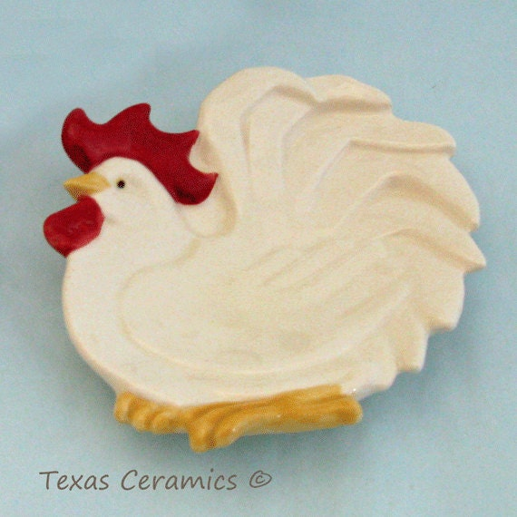 White Rooster Chicken Tea Bag Holder or Small Spoon Rest Ceramic Earthenware Country Farm Decor