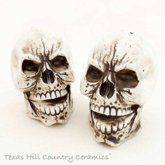 Skull Salt and Pepper Shakers Aged Bone Look for Creepy Haunting Halloween or Pirate Theme Ceramic Kitchen or Dining Decor