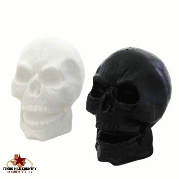 Miniature Ceramic Skull Salt and Pepper Shakers Halloween Decor Creepy Table Setting Ware Wedding Cake Topper in Black and White