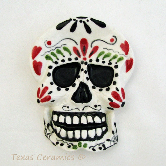 Ceramic Day of The Dead Sugar Skull Tea Bag Holder Small Ceramic Spoon Rest