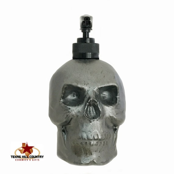 Skull Soap Dispenser Burnished Steel Finish Horror Halloween Decor for Bath Vanity or Kitchen Counter, Industrial Decor Home or Office