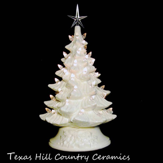 Winter White Ceramic Christmas Tree 11 1/2 Inch with Clear Lights and Modern Star Holiday Wedding Centerpiece Anniversary Celebration