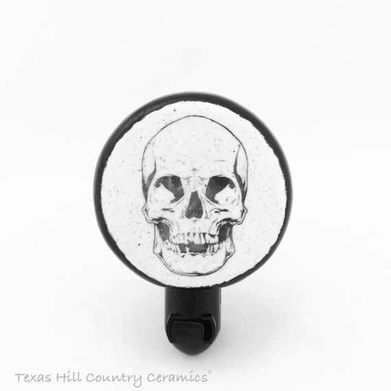 Black Skull Design on Round Shape Night Light Black Accent Mounted on UL Fixture Choose Auto or Manual On-Off Switch for Bath or Kitchen